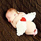 Neugeborenes Baby Fotografie Requisiten Baby-Fotografie Wolle Kleidung Handgestrickte Milch Rohbaumwolle Babykleidung Angel Wings Foto Fotografie Props Outfits (Color : White, Size : One Size)