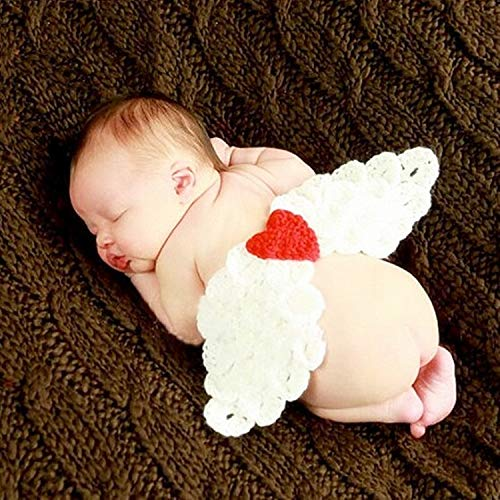 Photo de bébé Suit Bébé Photographie Laine Vêtements Lait tricoté à la Main Coton Laine Vêtements de bébé Angel Wings Props Tenues Costume Enfant Photographie (Color : White, Size : One Size)