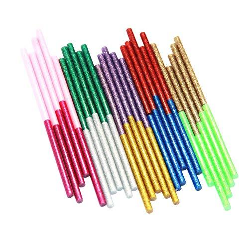 Ewparts 50 Stück farbige Glitzer Heißkleber Klebestifte Klebesticks Klebepistole Kunst Handwerk Heißleim Pistole Kleber Sticky Sticks, 7mm * 100mm (Glitter-50pcs)