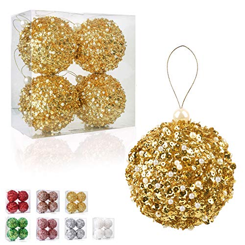 ZHANYIGY 4.25' Christmas Ball Ornaments, 4pc Set Gold Shatterproof Christmas Decorations Tree Balls for Xmas Trees Wedding Party Holiday Decorations (Gold)