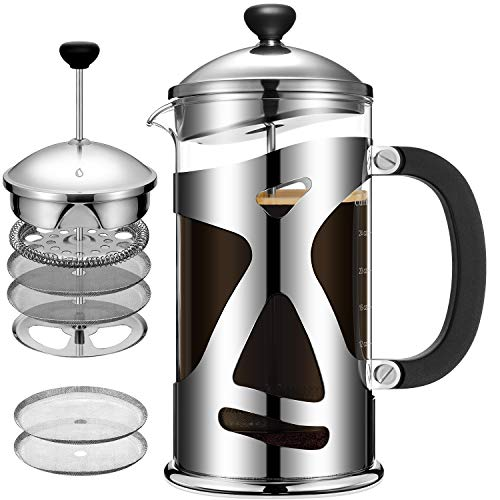 Cumbor French Press Coffee Maker(34oz), Durable Stainless Steel Coffee Press with 4 Filter Screens, Easy Clean, Heat Resistant Borosilicate Thicker Glass - 100% BPA Free