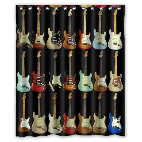 Shower Curtain Musical Instrument Guitar 60(w) x72(h) Inch Bathroom Waterproof Bath Curtain