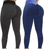 xiuxiu 2021 New Leggings Women, TIK Tok Leggings, Scrunch Yoga Pants Honeycomb Textured Tights2PackI-Large