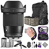 Sigma 16mm f/1.4 DC DN Contemporary Lens for Canon EF-M with Altura Photo Essential Accessory and Travel Bundle