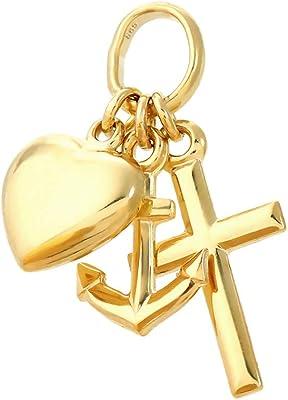 NKlaus fe amor esperanza 585 14K oro amarillo 7mm niños pequeños cadena colgante 9093