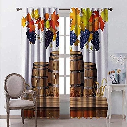 Cortinas opacas de 2 paneles con ojales, cortinas decorativas de ventana de aislamiento térmico súper suaves para dormitorio, sala de estar y guardería Barriles de vino de madera hojas de otoño dorada