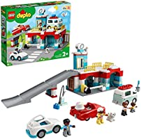 LEGO 10948 Duplo Car Park with Car Wash, Toy Cars, Garage Toy for Children from 2 Years, Toddler Toy