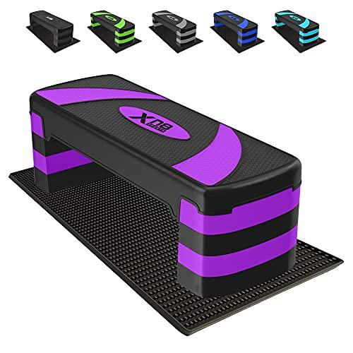 XN8 Adjustable Workout Aerobic Stepper Step Platform Trainer Bench Fitness Equipment Workout Deck with Adjustable Riser Height 4 Level 10cm, 15cm, 20cm, 25cm Non Slip Home Workout Equipment
