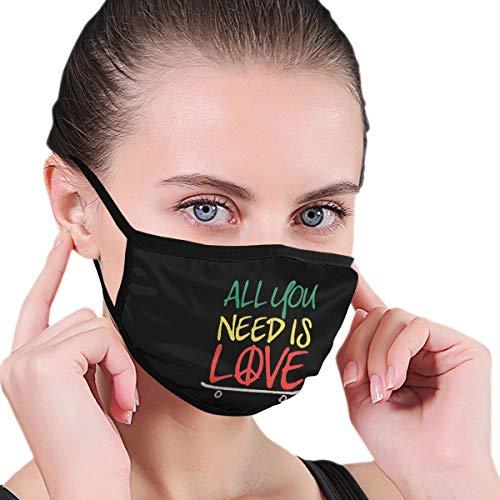 BAGR alles wat je nodig hebt is liefde skateboard masker voor mannen en vrouwen - masker kan worden gewassen herbruikbare masker een maat meerdere patronen