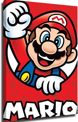 AMCYT Large Canvas Personalized Canvas Pictures Super Mario Nintendo Posters Hand Painted Canvas Wall Art 12x16inch (with Frame,20x30inch(50x75cm))