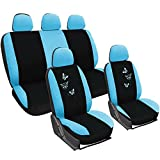 WOLTU AS7244 Set Completo di Coprisedili Auto Seat Cover Universali Protezione per Sedile di Poliestere con Ricamo Farfalle Blu