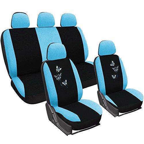 WOLTU AS7244 Universal Sitzbezug für Auto Sitzbezüge Schonbezüge Autositzschoner, Butterfly Stickerei, schwarz-blau