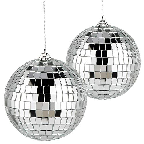 2 Stück Spiegelkugel Disco Kugel für Party Hochzeit Weihnachtsbaum Bar Dekoration Mirrorball Reflektierende Glänzende Echtglasfacetten 10cm Silber