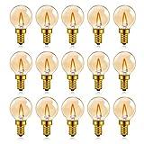 Hcnew G40 E14 LED Retro Edison Bombilla de filamento Mini Globo 1W Bombilla de vidrio ámbar claro 220V para luces de cadena al aire libre, luces de café, hogar,Súper cálido 2200K -15 Paquete