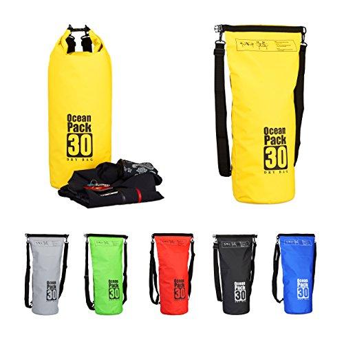 Relaxdays Ocean Pack 30 L, waterafstotende Dry Bag voor waardevolle spullen, lichte droogzak voor outdoor sport, geel