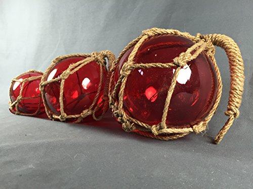 Buddel-Bini Deko - Fischerkugel aus Glas Basic in rot mit Tauwerk - 13 cm Durchmesser