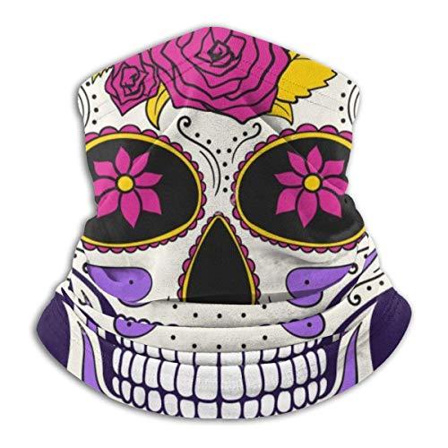 ASDAH Stock illustratie Day Dead Skull bloemensieraad comfortabele fleece nek warme bivakmuts hood