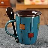 WANGSHI Pareja De Vasos para Beber Tazas De Cerámica Par De Tazas Literarias Retro con Tapas Simples Tazas para El Hogar Cubierta de Porcelana Azul Marino de Drum Lake