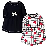 Touched by Nature Girls, Toddler, Baby and Womens Organic Cotton Short-Sleeve and Long-Sleeve Dresses, Black Red Heart Long Sleeve, 5 Toddler