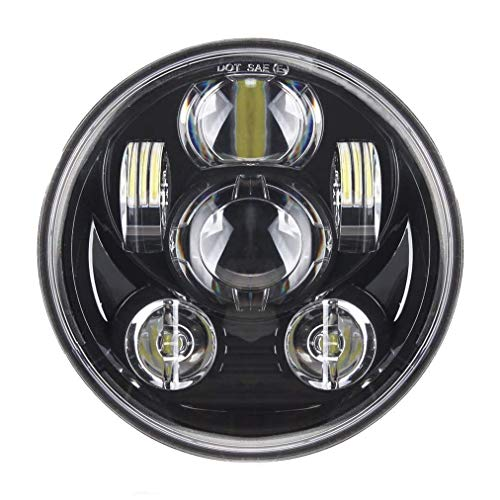 5.75'' LED Faro Anteriore per Harley Davidson Sportster Dyna Nightster Wide Glide Street Bob Night Rod etc. Faro anteriore da 5 3/4 pollici per moto (Nero senza alone)