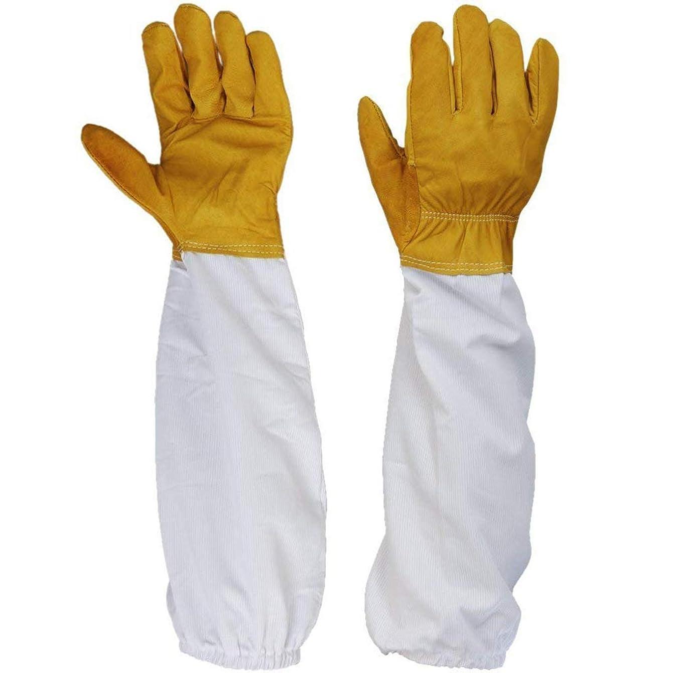 Onior 1ペア便利な実用シープスキン換気布保護手袋長袖養蜂用手袋虫除け芝刈り用芝刈り機の取り外しに適した