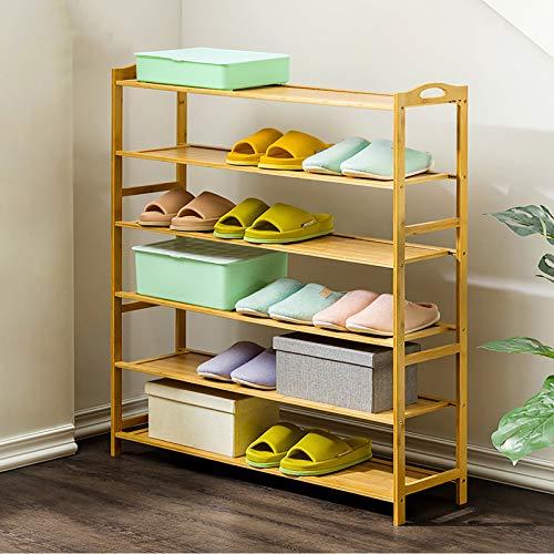 KWOPA 6-Estante De Zapatos De Bambú De Nivel,Apilable Estante De Almacenamiento De Rack para Zapatos De Pie con Dos Asas para Entryway Closets Shoe Organizer-Color de Madera 90x25x108cm