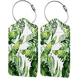 Étiquettes de Bagages Aquarelle Feuille de Banane Plantain Étiquettes de Valise en Cuir PU Conception Voyage avec Couverture de confidentialité arrière