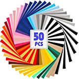 50 Pack HTV Heat Transfer Vinyl Bundle, 12'x10' 28 Assorted Colors Iron on Vinyl for T-Shirt, Including 48 Heat Transfer Vinyl and 2 Teflon Sheet