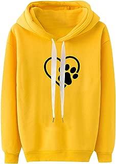 Kaniem Casual Hooded Sweatshirt,Womens Girls Cute Dog Footprint Long Sleeve Hoodie Pullover Top Blouse