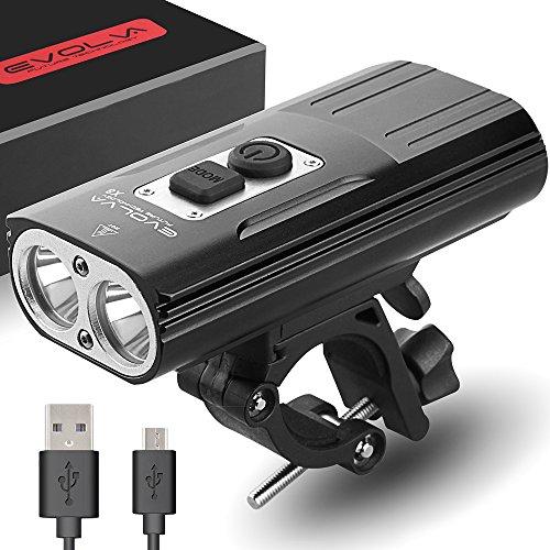 Evolva Future Technology Versión Actualizada Recargable X8 Bike Light 1800 Lumen USB Cree LED Faro Bicicleta luz (Versión Actualizada)