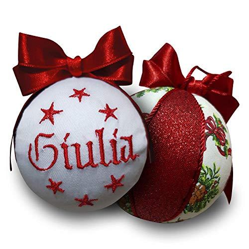 Crociedelizie, pallina di Natale personalizzata 8 cm nome ricamato decorazione natalizia personalizzabile in lurex rosso e bianco idea regalo + scatola regalo in omaggio