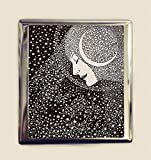 Moon Woman Cigarette Case Business Card ID Holder Wallet Celestial Crescent Moon Retro Lunar