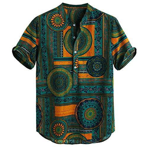 Beonzale Sommer Casual Herren Baumwolle Leinen Gedruckt Kurzarm Casual Henley Shirts Krawatte Sommer Tops Bluse Kurzarm Freizeithemden