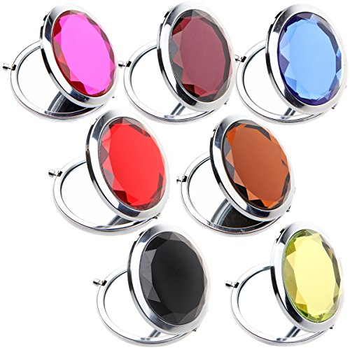 IETANG 7pc Set Double Compact Cosmetic Crystal Makeup Mirrors Round Pocket Purse Magnification Jewel Mirrors