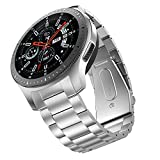 BaiHui Metal Strap Compatible with Galaxy Watch 46mm Bands/Gear S3 Classic/Frontier Bands No Gaps Quick Release Stainless Steel Watch Band Wristband for Samsung Galaxy Watch 46mm - Silver
