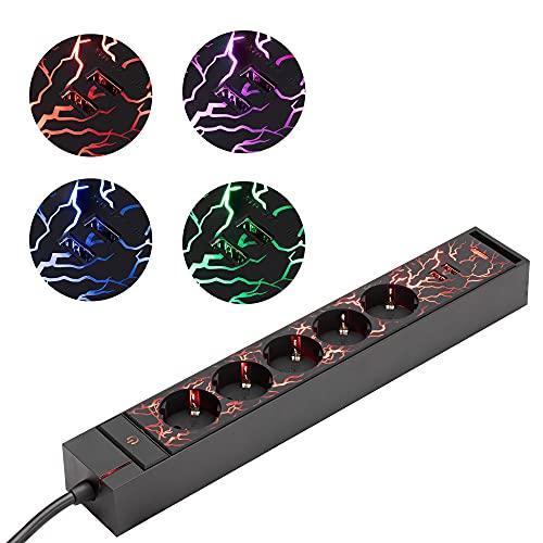 kwmobile Regleta con luces LED - Ladrón para gaming con 5x enchufe tipo F y 2x puerto USB A - Alargador con interruptor y cable de 1.5 M - Negro mate