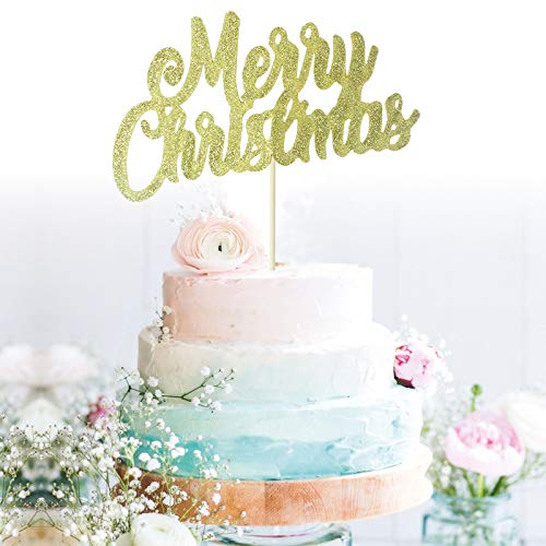 GrantParty Gold Merry Christmas Cake Topper - Holiday Santa and Reindeer Cake Decorations - Happy New Year,Hello 2021 Sign(Gold)