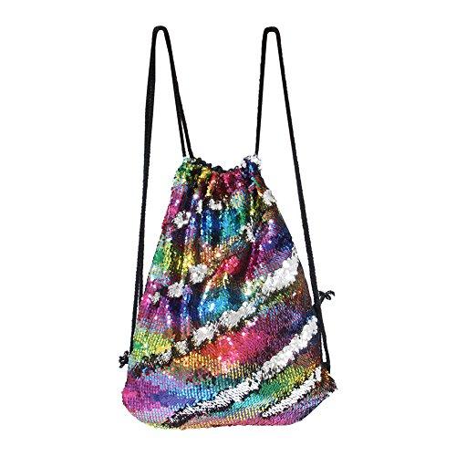 ICOSY Meerjungfrau Pailletten Tasche Kordelzug Pailletten Rucksack Glitter Meerjungfrau Rucksäcke Magie Tanz Taschen für Kinder Erwachsene (35X45cm,Bunte Welle/Silber)