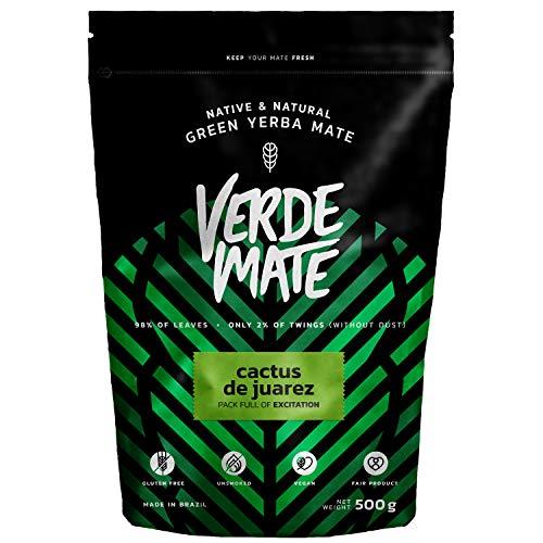 Mate Tee Yerba Verde Mate Green Cactus de Juarez 500g | Verde Mate Grün Kaktusfeige | Mate Tee aus Brasilien | Hohe Qualität | Aromatisierter Mate Tee | Glutenfrei | nicht rauchgetrocknet