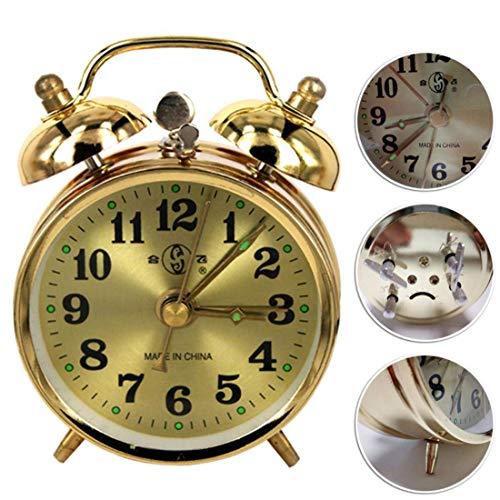 ZhenHe Silencioso retro de alarma del reloj del v Puntero Relojes Ronda Número doble campana fuerte alarma reloj de cabecera luz de la noche Inicio Decoraciones Adecuado para el hogar, oficina, niños.