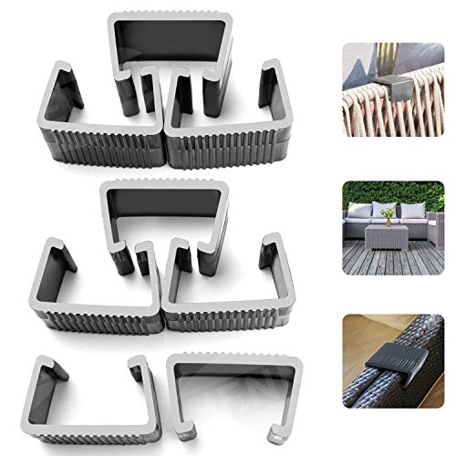 HENMI Patio Furniture Clips Outdoor Wicker Furniture Rattan Chair Sofa Fasteners Clip Sectional Connector 8 PCS Large