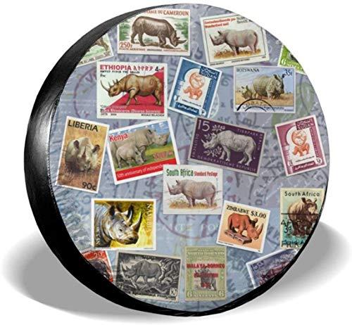 MODORSAN Rhino Postage - Cubierta de neumático de Rueda de Repuesto de poliéster, Cubiertas de Rueda universales para Jeep, Remolque, RV, SUV, camión, Accesorios, 15 Pulgadas