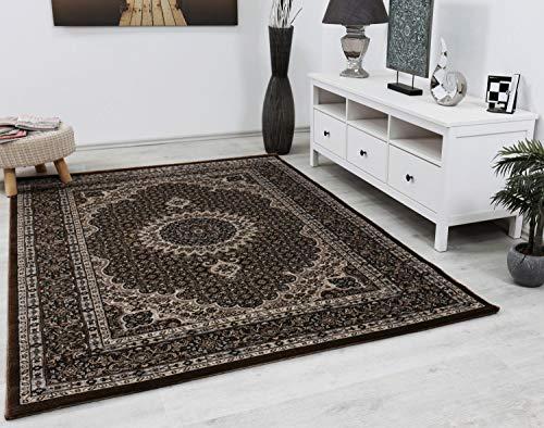 VIMODA Teppich Klassisch Gemustert Kreis, sehr dicht gewebt, Orient Muster - Top Qualität, BRAUN, Maße:120 x 170 cm