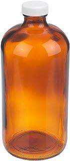 Wheaton Boston Round Bottle, Amber Glass, With 20-400 White Polypropylene PTFE Faced Foamed Polyethylene Lined Screw Cap W...