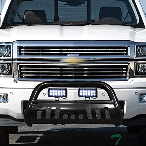 Topline Autopart Black Bull Bar Brush Push Bumper Grill Grille Guard With Skid Plate + 36W CREE LED Fog Lights For 07-18 Chevy Silverado Tahoe Suburban Avalanche/GMC Sierra Yukon XL 1500