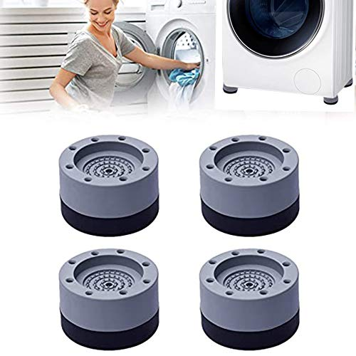 Shock and Noise Cancelling Washing Machine Support, Anti Slip Anti Vibration and Noise reducing Rubber Washing Machine Feet Pads, for Washing Machine and Dryer Raise Height Reduce Noise (4PCS)