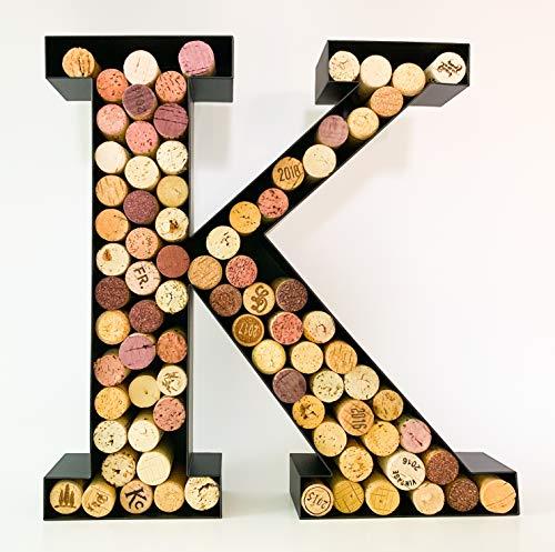 Wine Cork Holder - Metal Monogram Letter (A-Z) (Letter K)