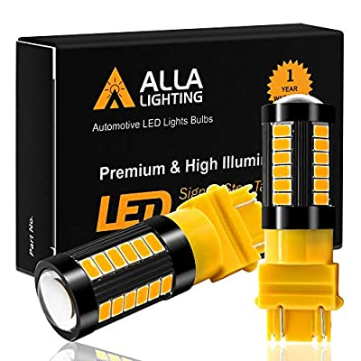 Alla Lighting 2800lm 3156 3157 LED Turn Signal Lights Amber Yellow Dual Filament Blinker Lamps Replacement Xtreme Super Bright 12V 5730 33-SMD T25 3157NAK 4157 3457K 3757