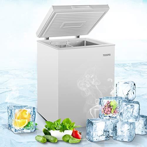 Chest Freezer, TECCPO 3.5 Cu.Ft. Upright Freezer with Adjustable Temperature, Top Open Door Compact Deep Freezer for Home, Kitchen, Garage, Restaurant, Office, TAFZ02, White