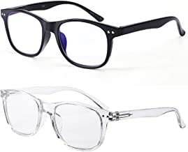Blue Light Blocking Glasses Women & Men Computer Reading Gaming Glasses 2 Pack Anti Blue Ray and Anti Eyestrain UV Filter Fashion Glasses Classic Black and White by FONHCOO